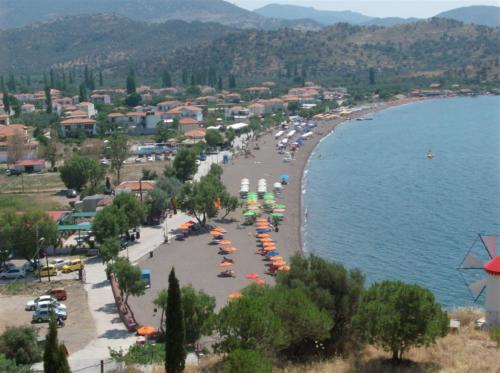 The beach front in Anaxos Lesvos